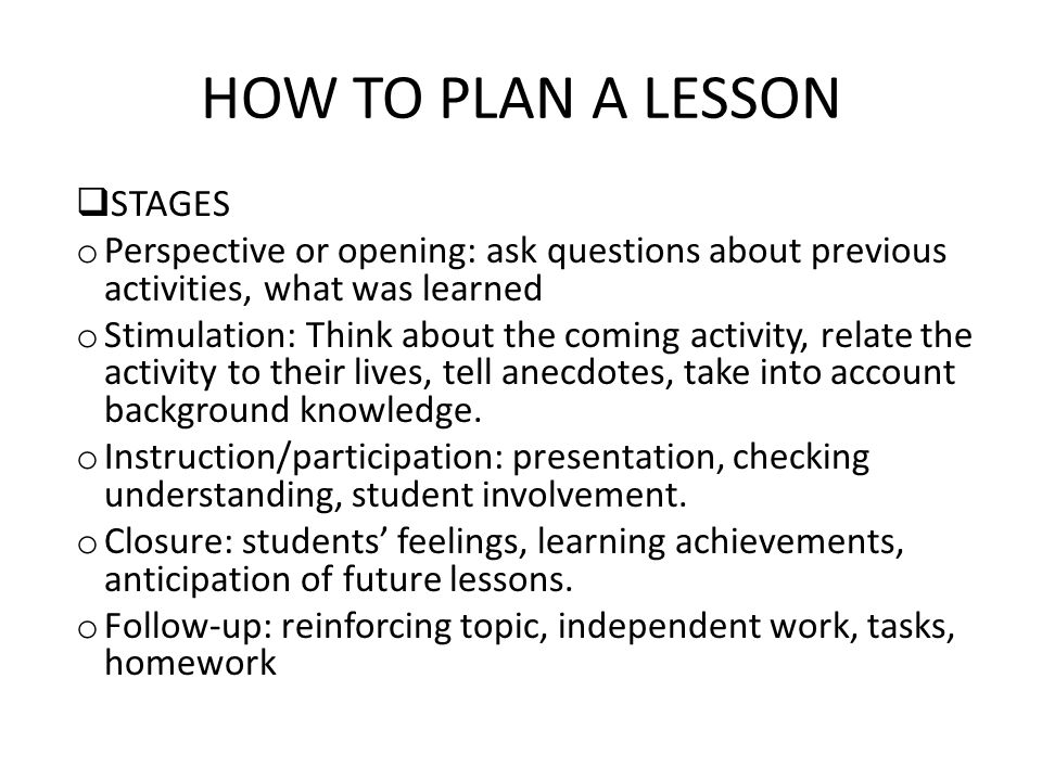 HOW TO PLAN A LESSON STAGES