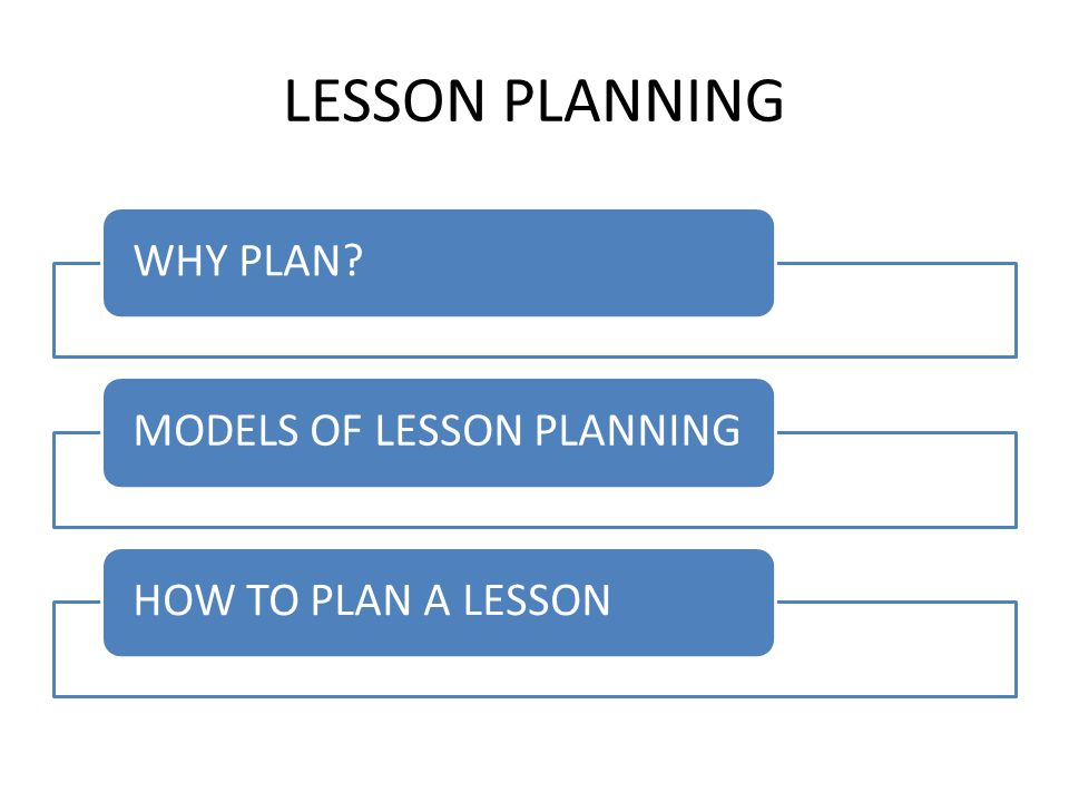 LESSON PLANNING WHY PLAN MODELS OF LESSON PLANNING