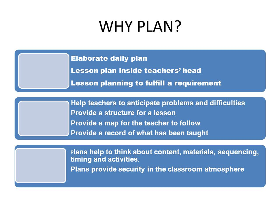 WHY PLAN Plans provide security in the classroom atmosphere