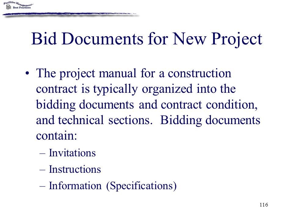 Bid Documents for New Project