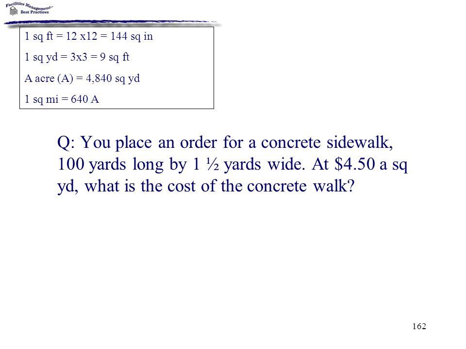 1 sq ft = 12 x12 = 144 sq in 1 sq yd = 3x3 = 9 sq ft. A acre (A) = 4,840 sq yd. 1 sq mi = 640 A.