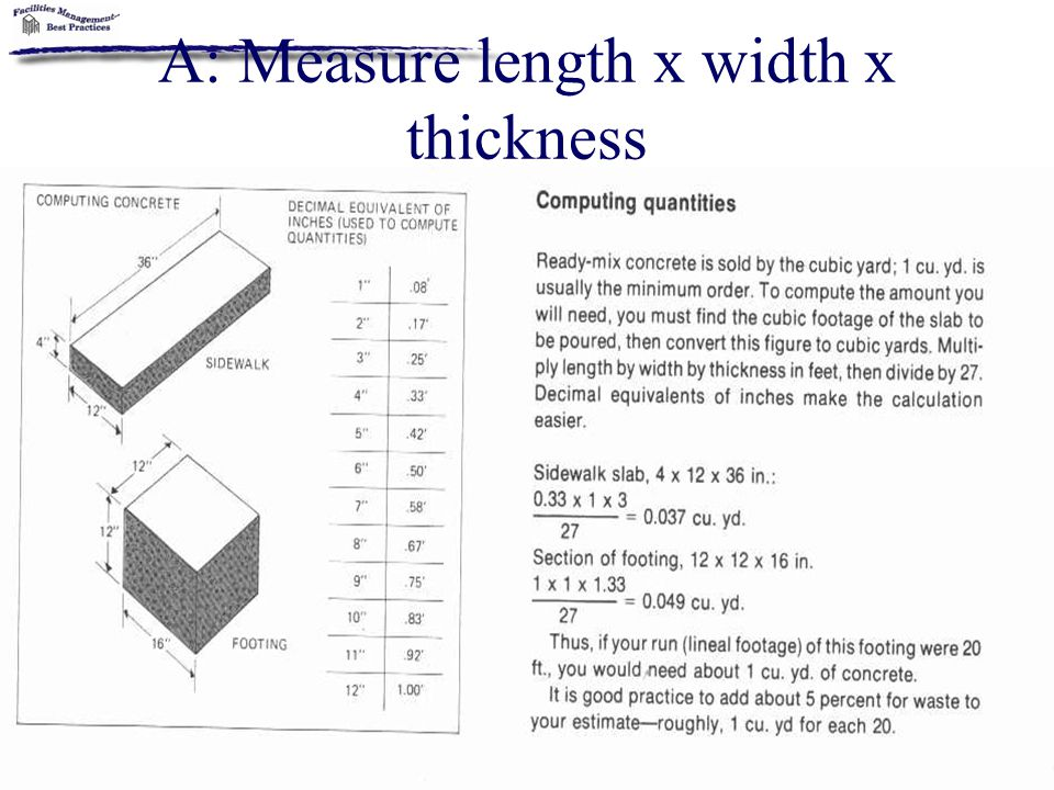 A: Measure length x width x thickness