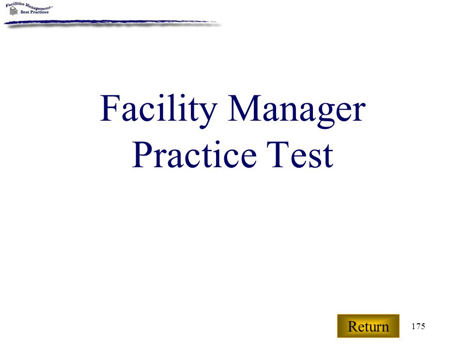 Facility Manager Practice Test