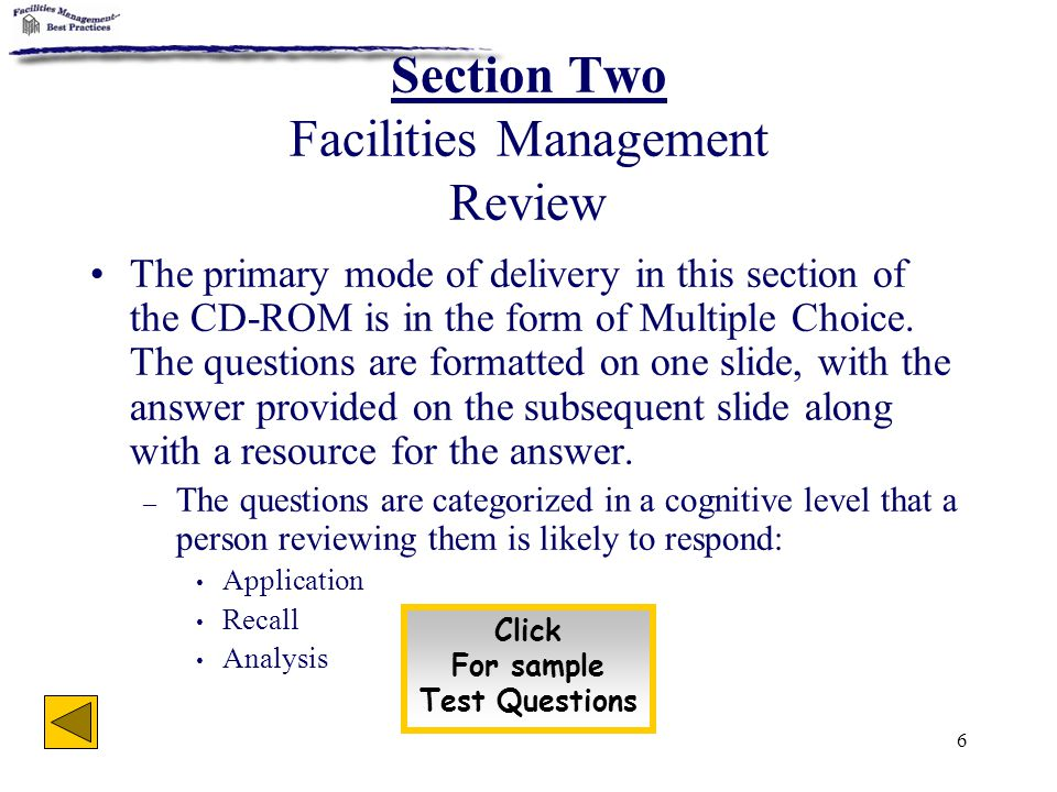Section Two Facilities Management Review