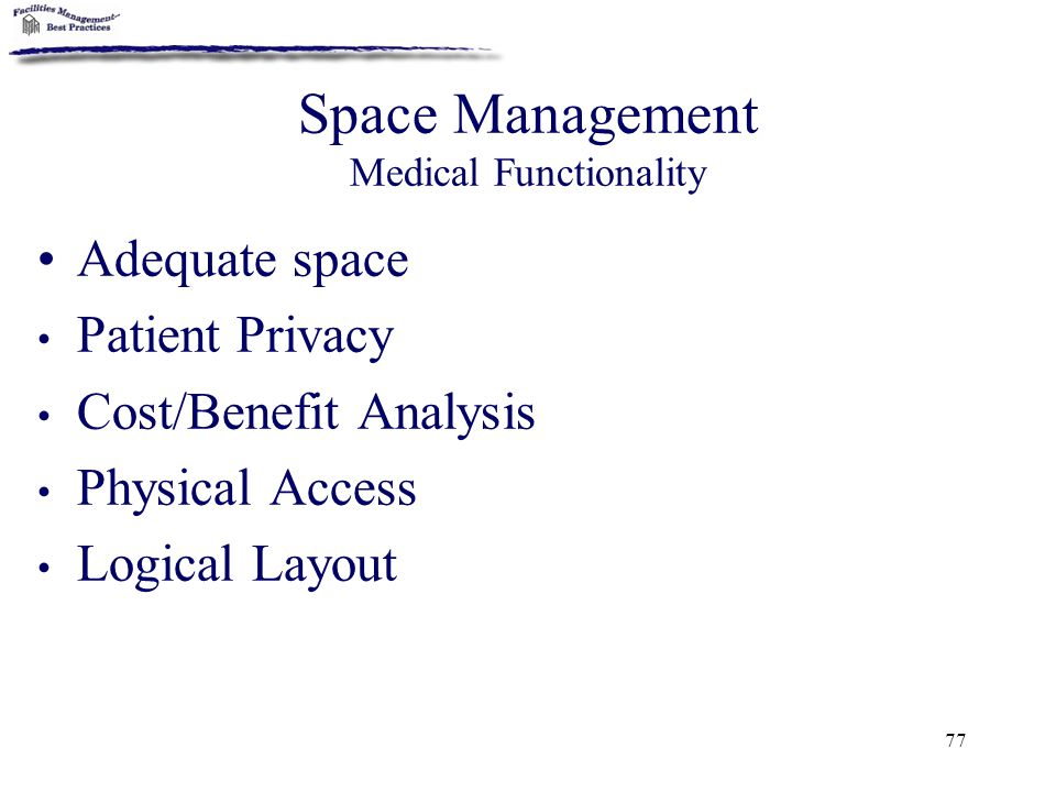 Space Management Medical Functionality