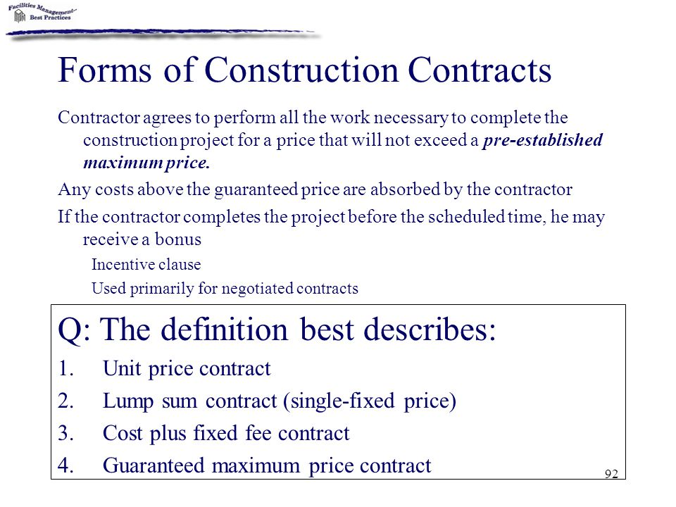Forms of Construction Contracts