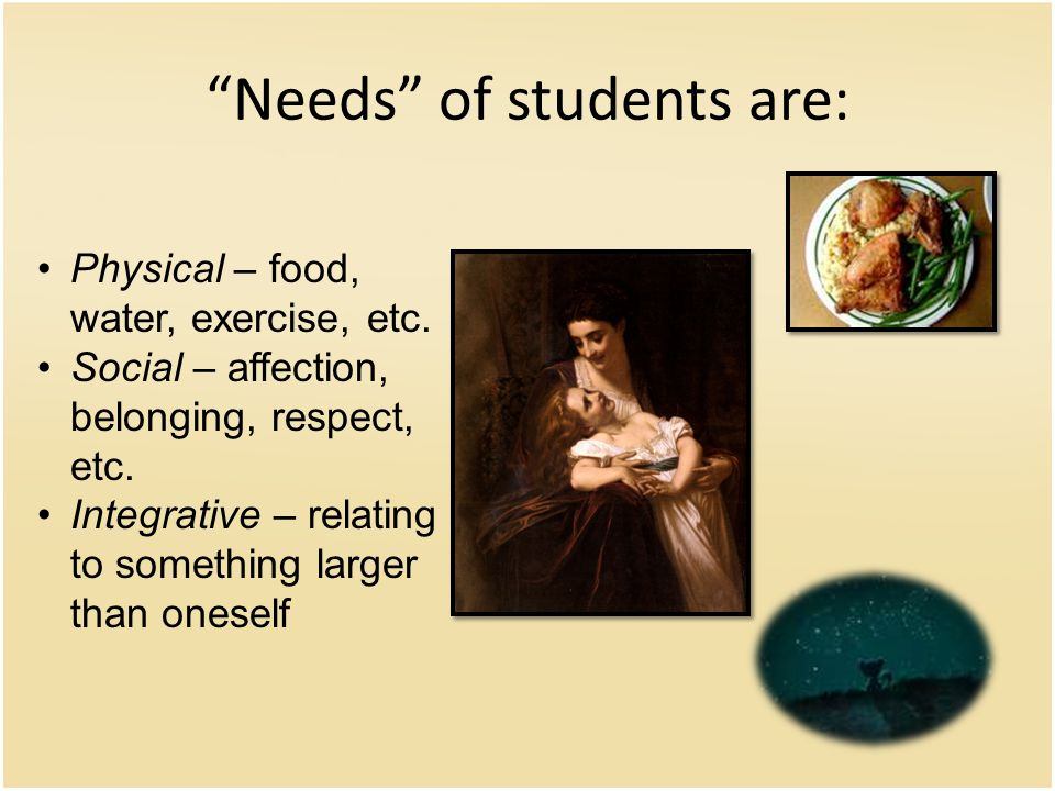 Needs of students are: