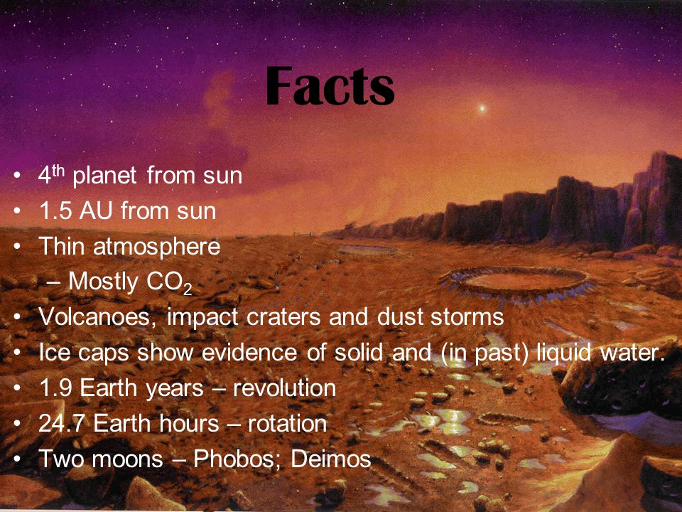 Facts 4th planet from sun 1.5 AU from sun Thin atmosphere Mostly CO2