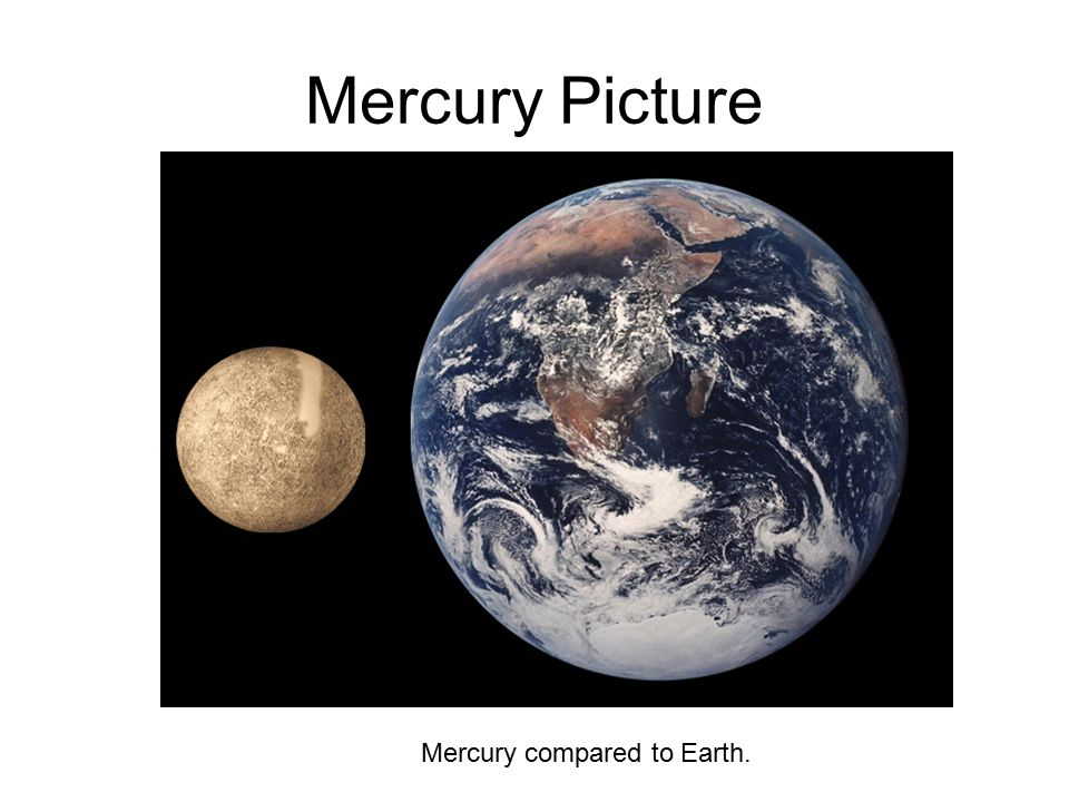 Mercury Picture Mercury compared to Earth.