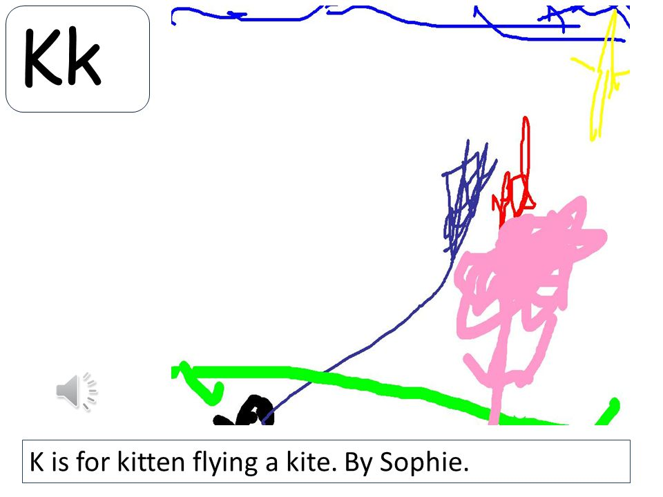 Kk K is for kitten flying a kite. By Sophie.