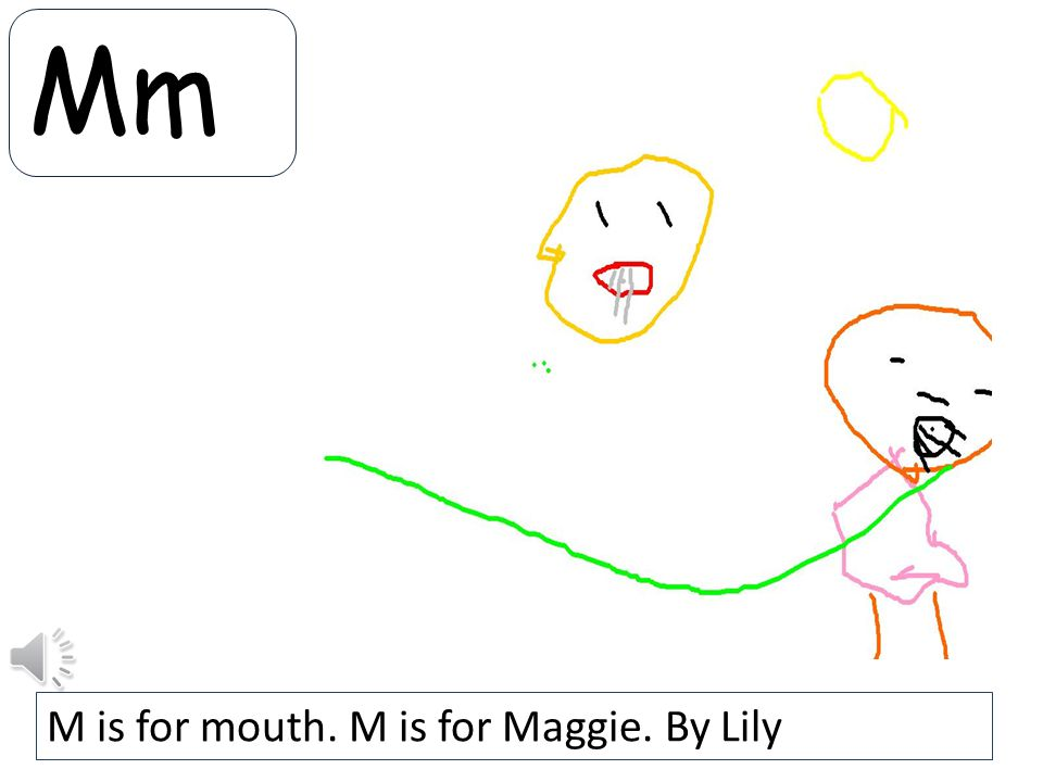 Mm M is for mouth. M is for Maggie. By Lily