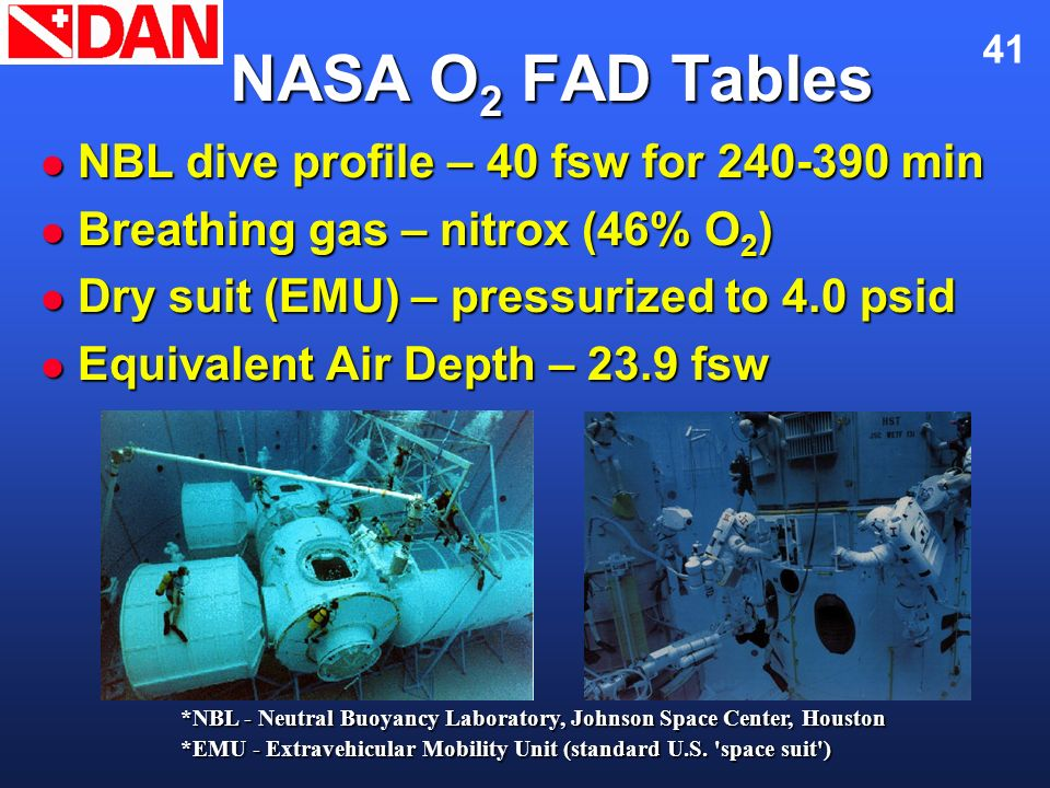 NASA O2 FAD Tables NBL dive profile – 40 fsw for 240-390 min