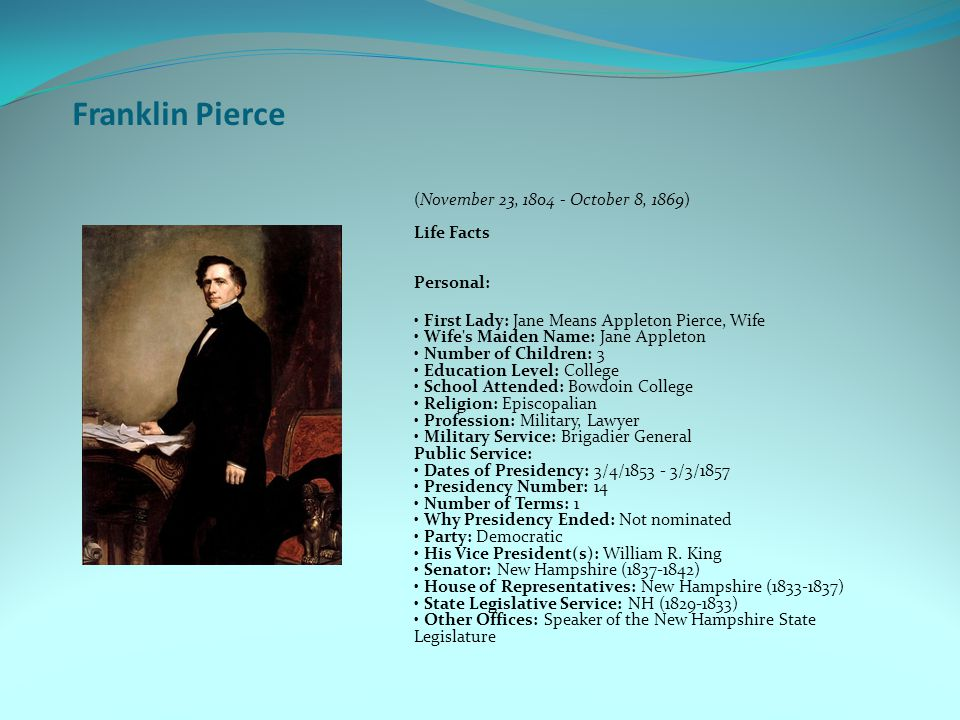 Franklin Pierce (November 23, 1804 - October 8, 1869) Life Facts Personal: