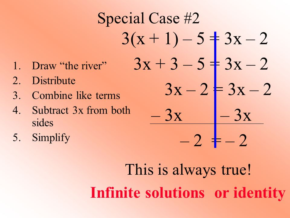 Infinite solutions or identity