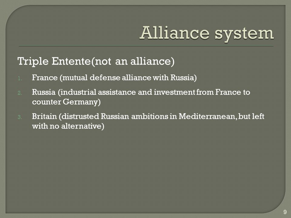 Alliance system Entente (not an alliance)
