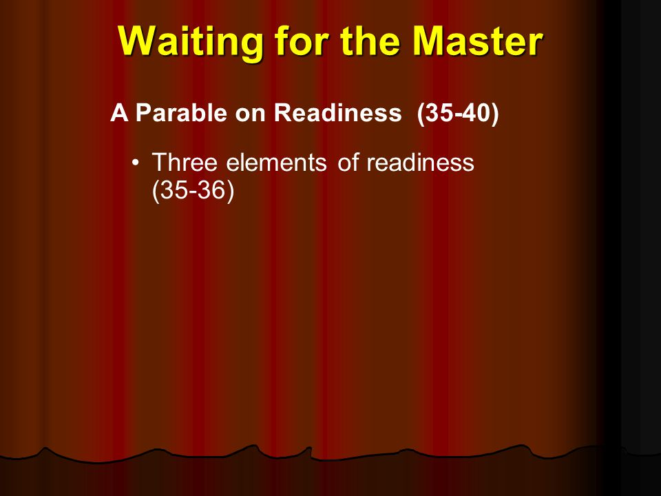 Waiting for the Master A Parable on Readiness (35‑40)