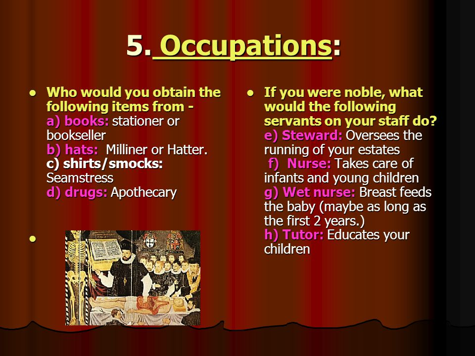 5. Occupations: