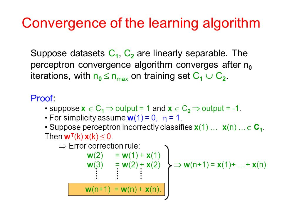 Convergence of the learning algorithm