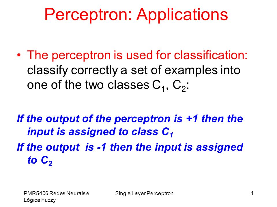 Perceptron: Applications