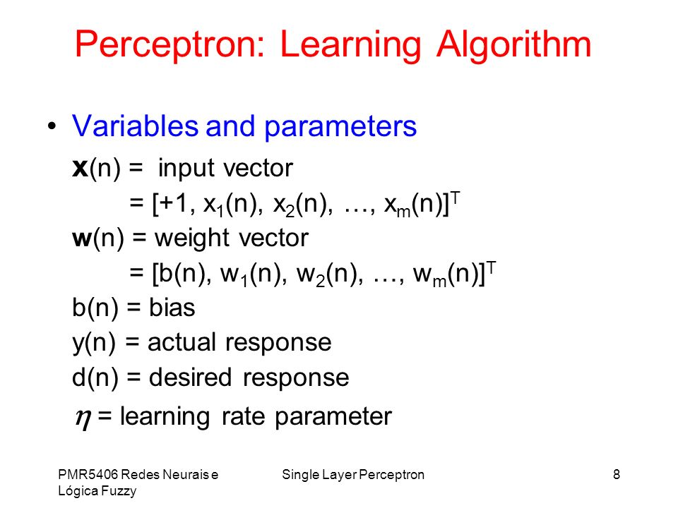Perceptron: Learning Algorithm
