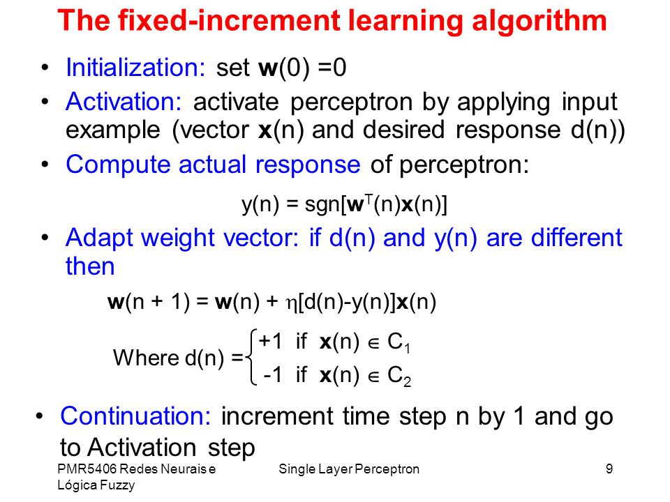 The fixed-increment learning algorithm