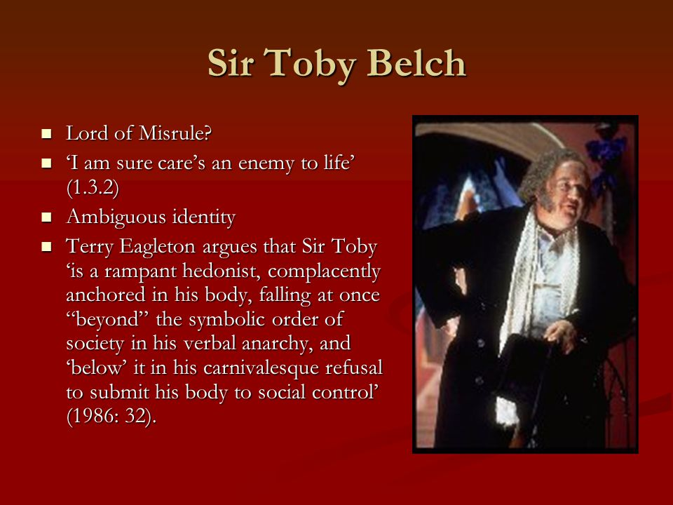 Sir Toby Belch Lord of Misrule