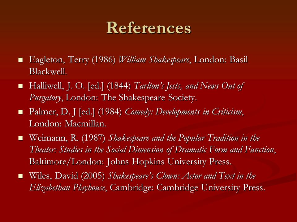 References Eagleton, Terry (1986) William Shakespeare, London: Basil Blackwell.