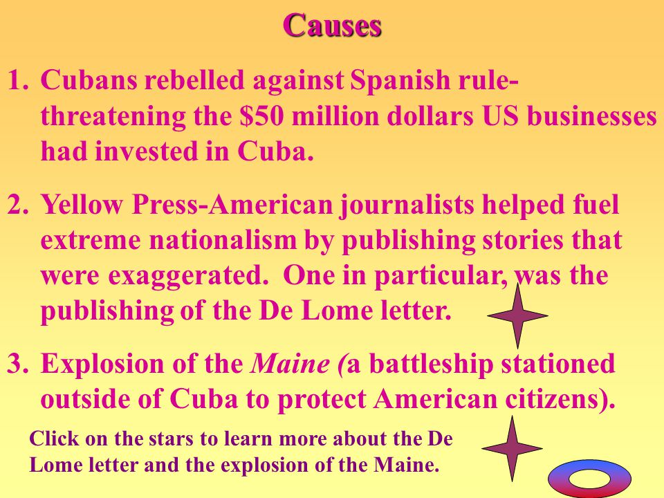 Causes Cubans rebelled against Spanish rule-threatening the $50 million dollars US businesses had invested in Cuba.