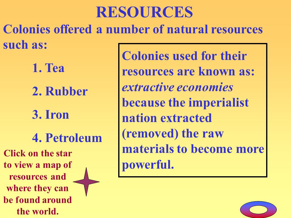 RESOURCES Colonies offered a number of natural resources such as: