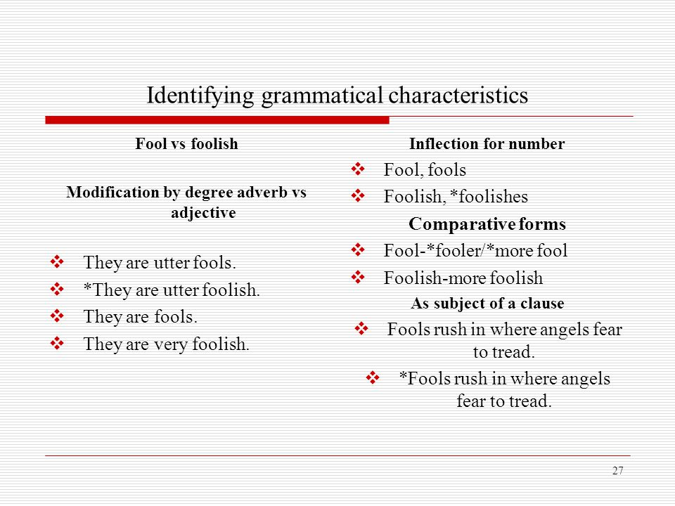 Identifying grammatical characteristics