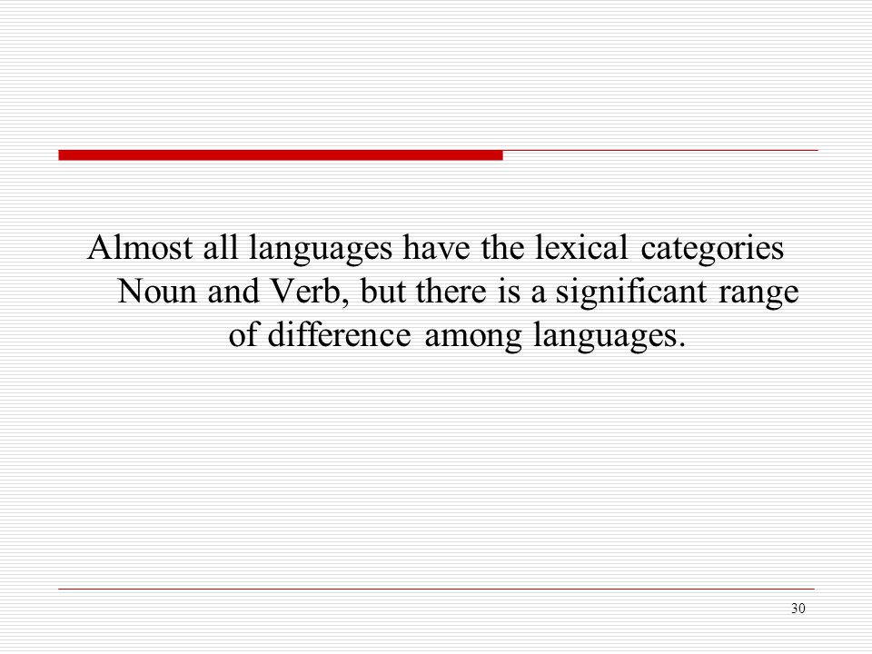 Almost all languages have the lexical categories Noun and Verb, but there is a significant range of difference among languages.
