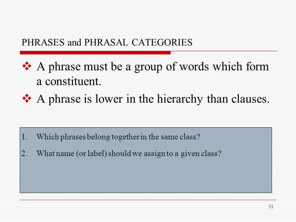 PHRASES and PHRASAL CATEGORIES