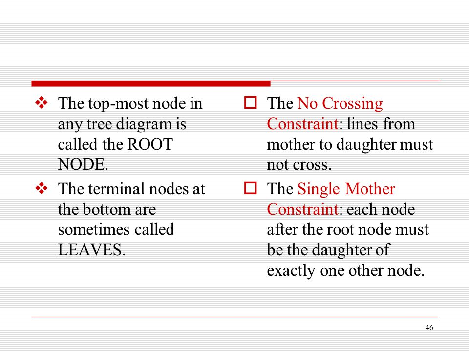 The top-most node in any tree diagram is called the ROOT NODE.