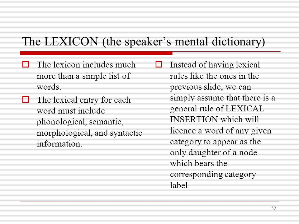 The LEXICON (the speaker's mental dictionary)