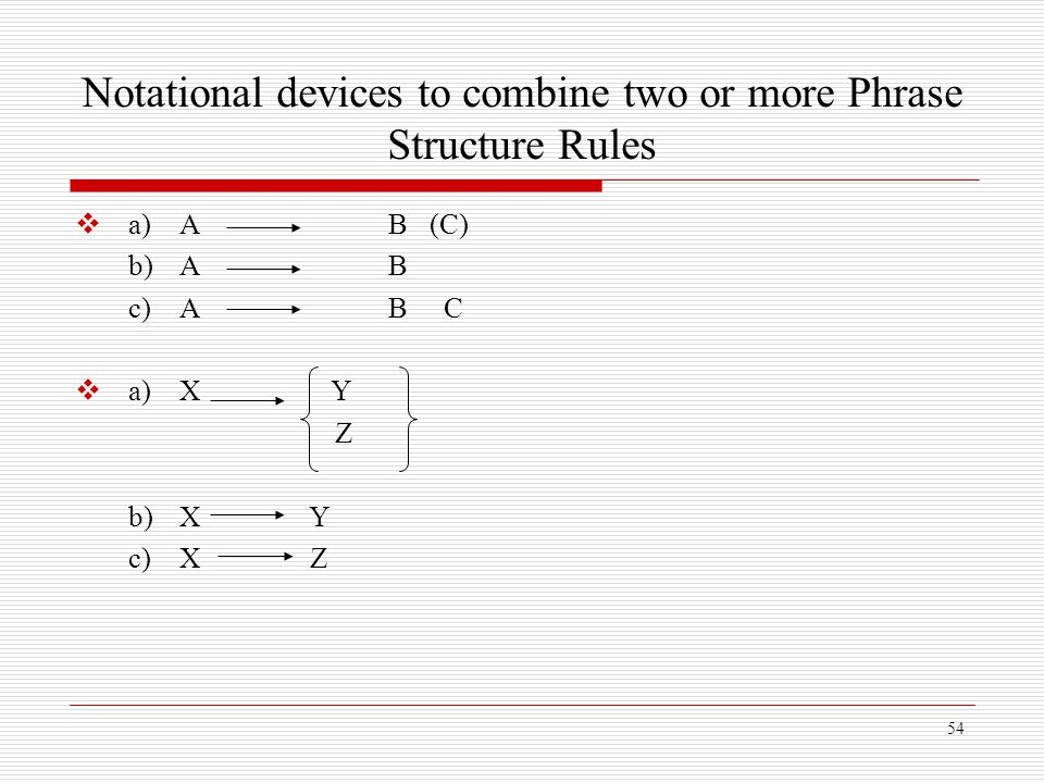 Notational devices to combine two or more Phrase Structure Rules