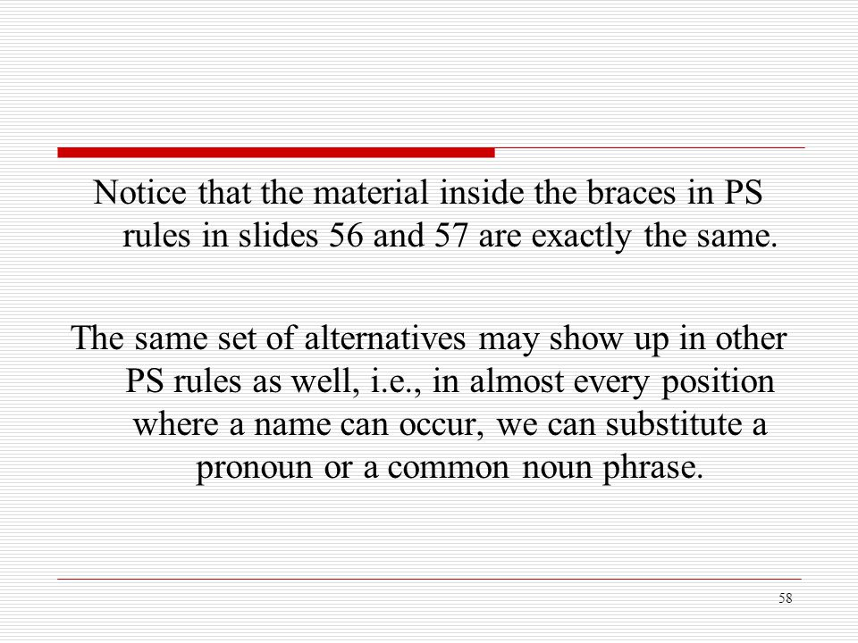 Notice that the material inside the braces in PS rules in slides 56 and 57 are exactly the same.