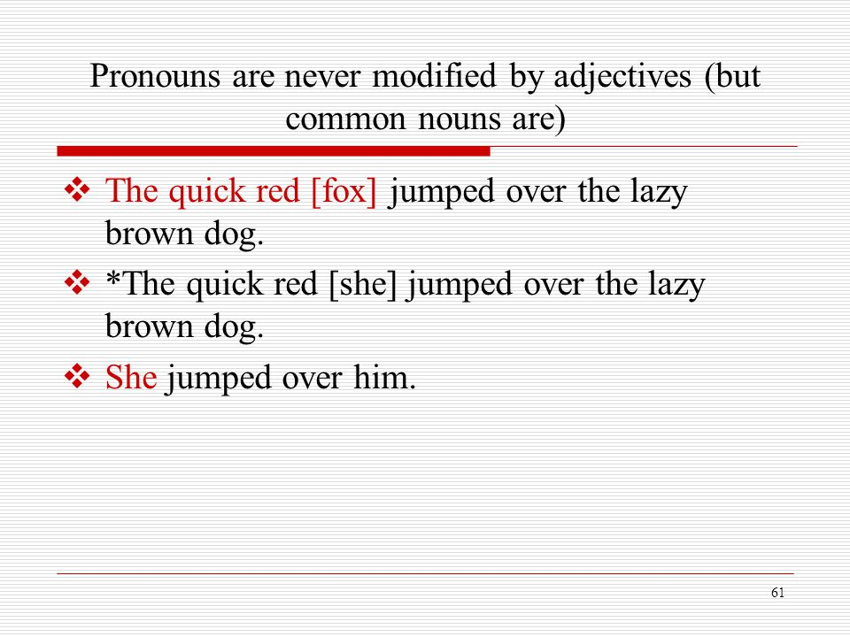 Pronouns are never modified by adjectives (but common nouns are)