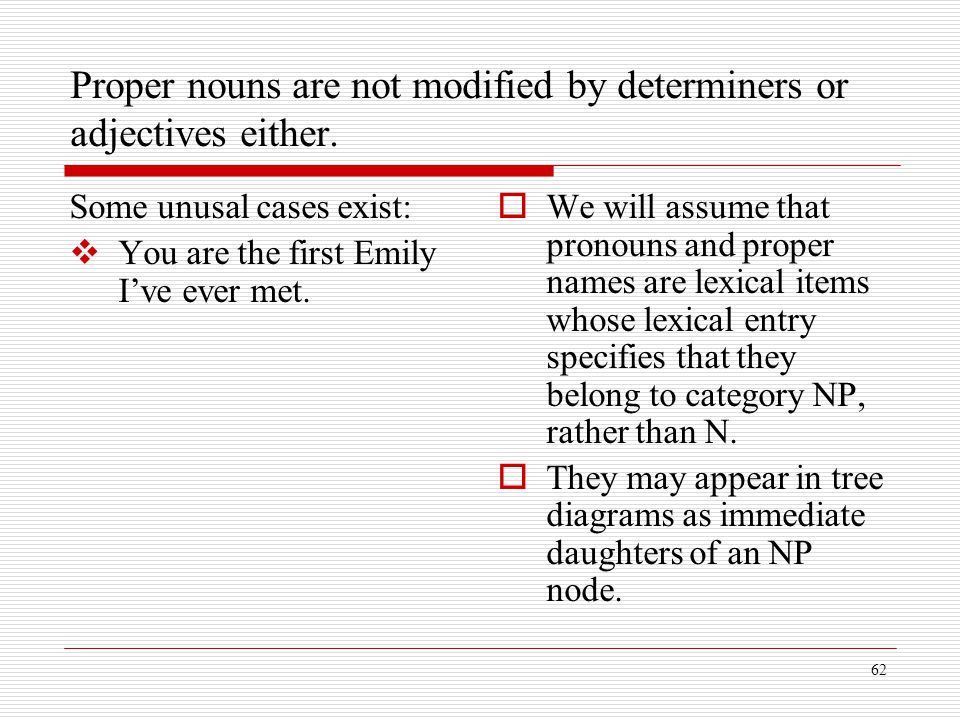 Proper nouns are not modified by determiners or adjectives either.