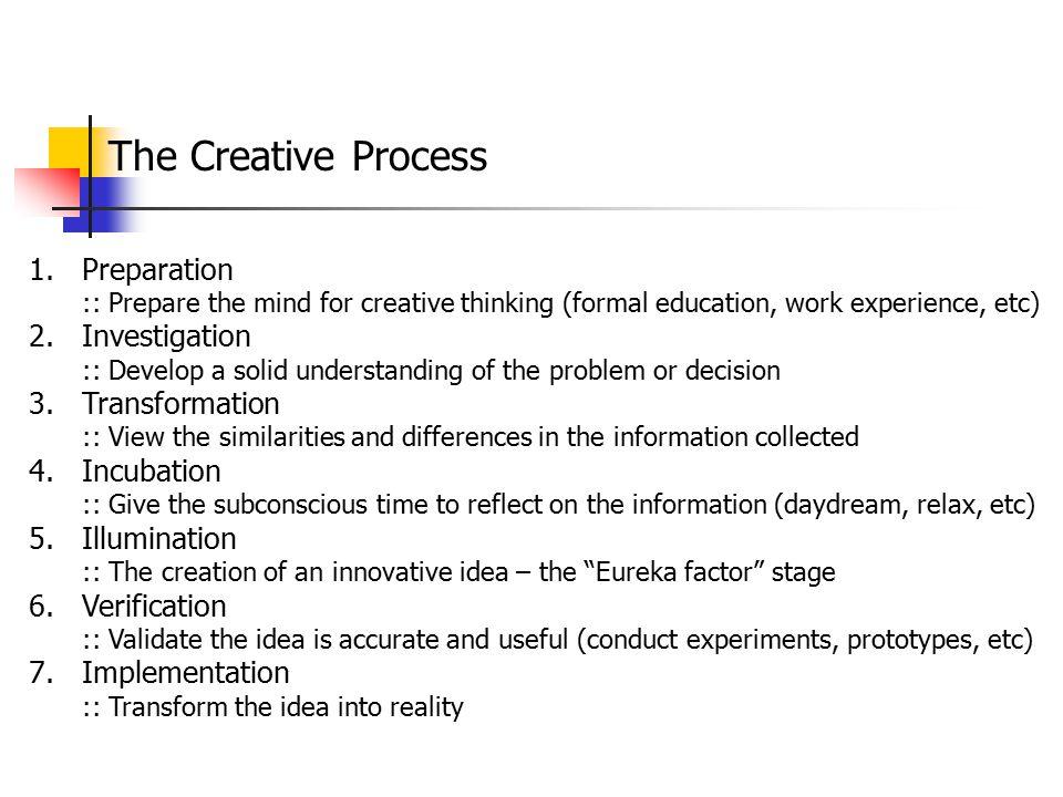The Creative Process Preparation Investigation Transformation