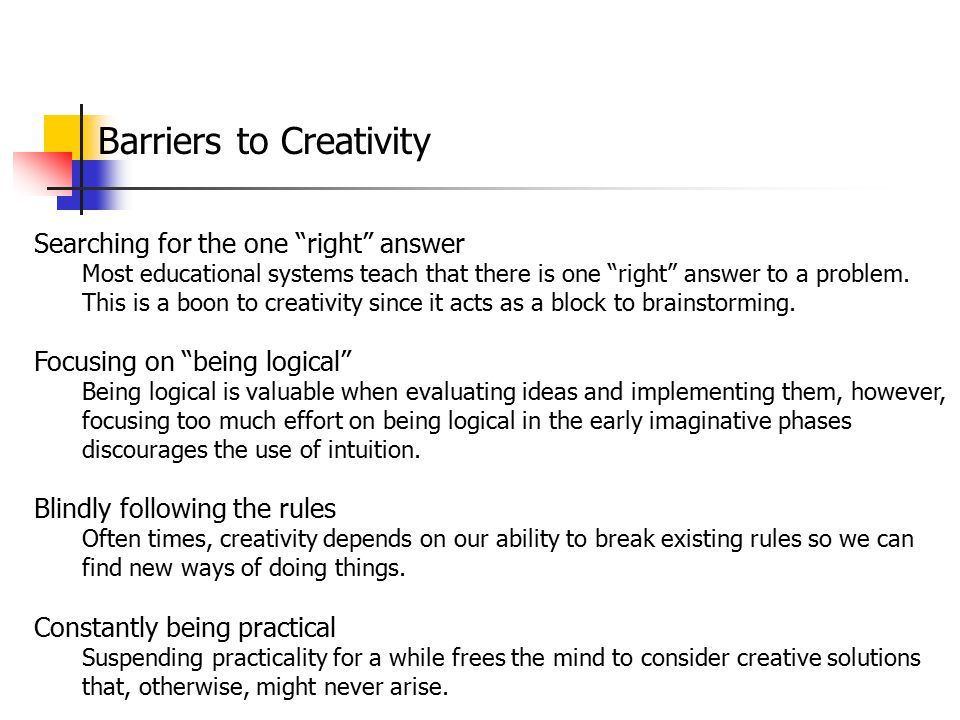 Barriers to Creativity