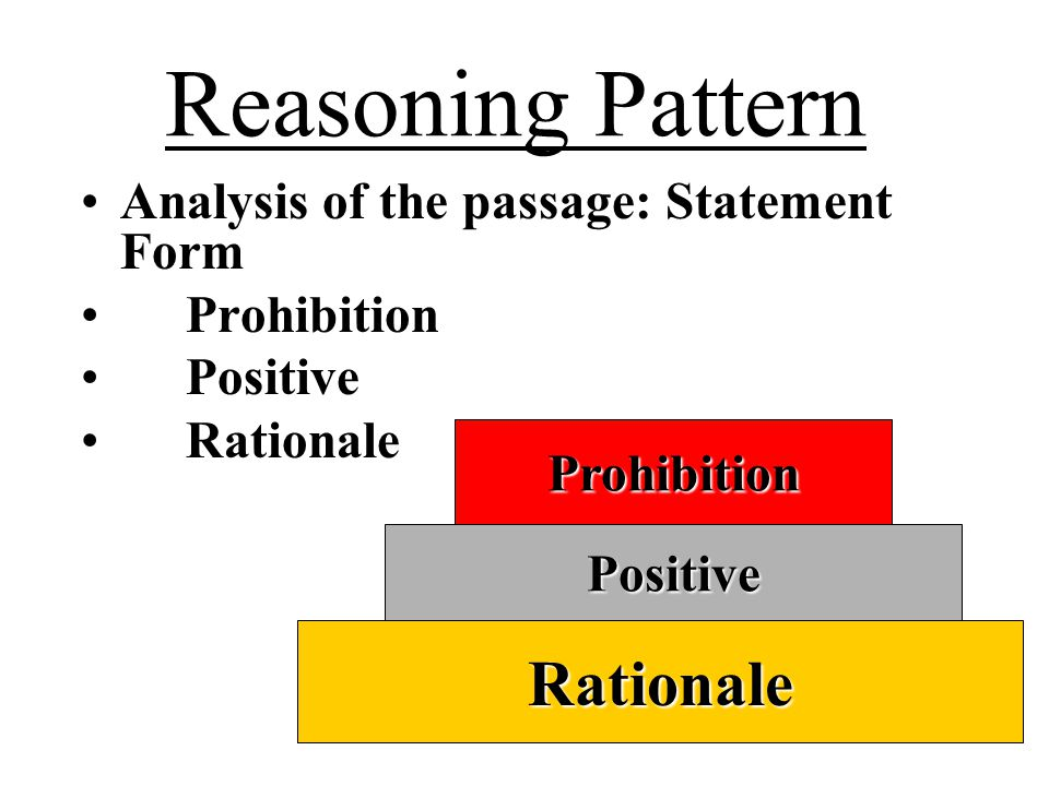 Reasoning Pattern Rationale Analysis of the passage: Statement Form