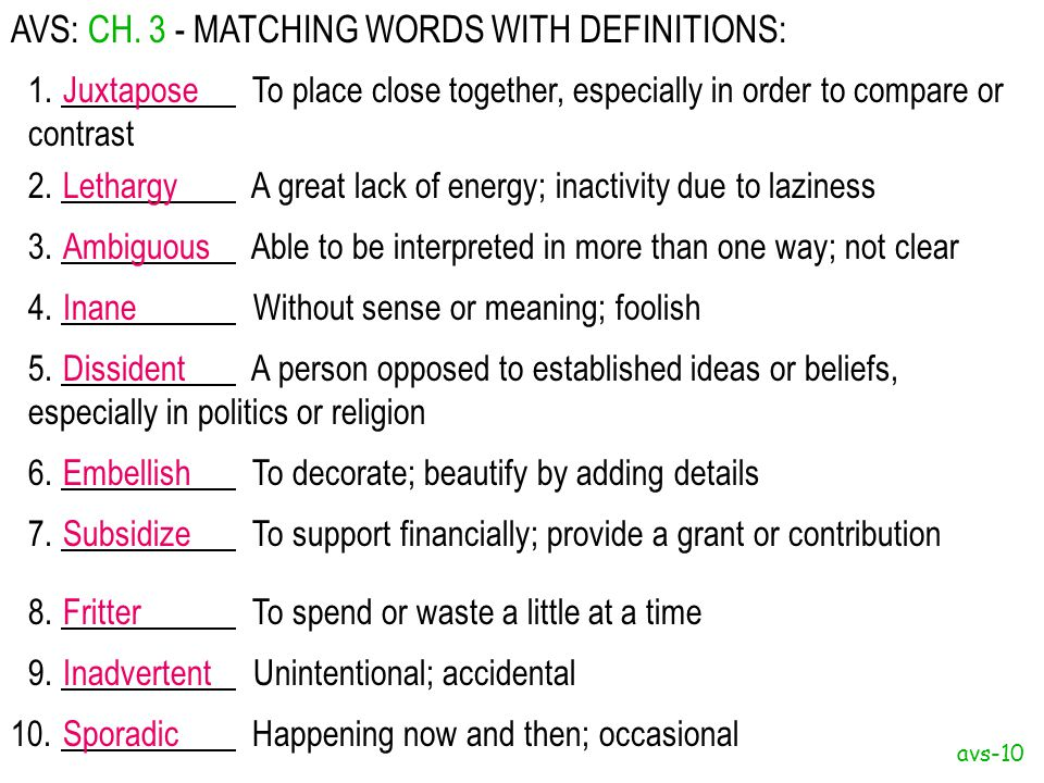 AVS: CH. 3 - MATCHING WORDS WITH DEFINITIONS: