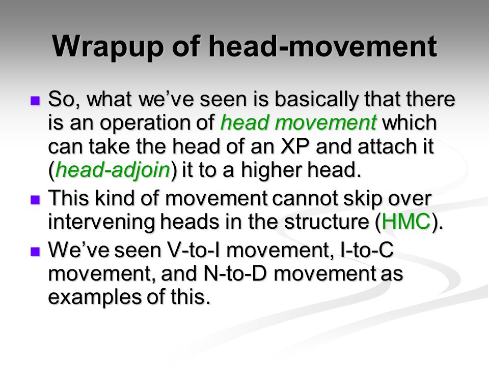 Wrapup of head-movement