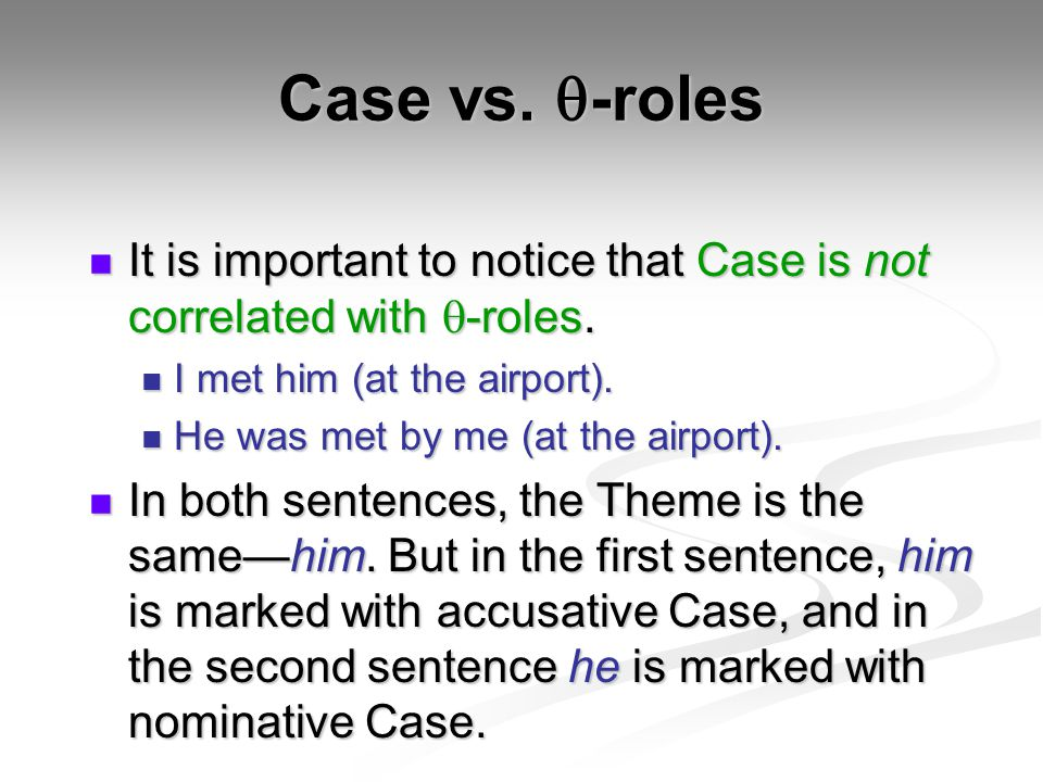 Case vs. q-roles It is important to notice that Case is not correlated with q-roles. I met him (at the airport).