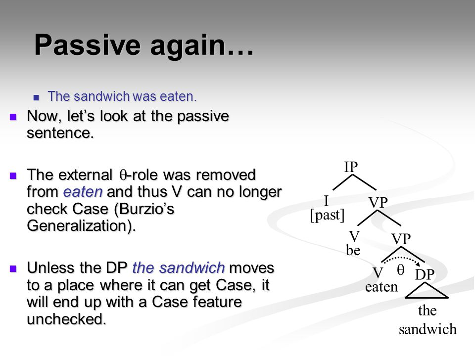 Passive again… Now, let's look at the passive sentence.