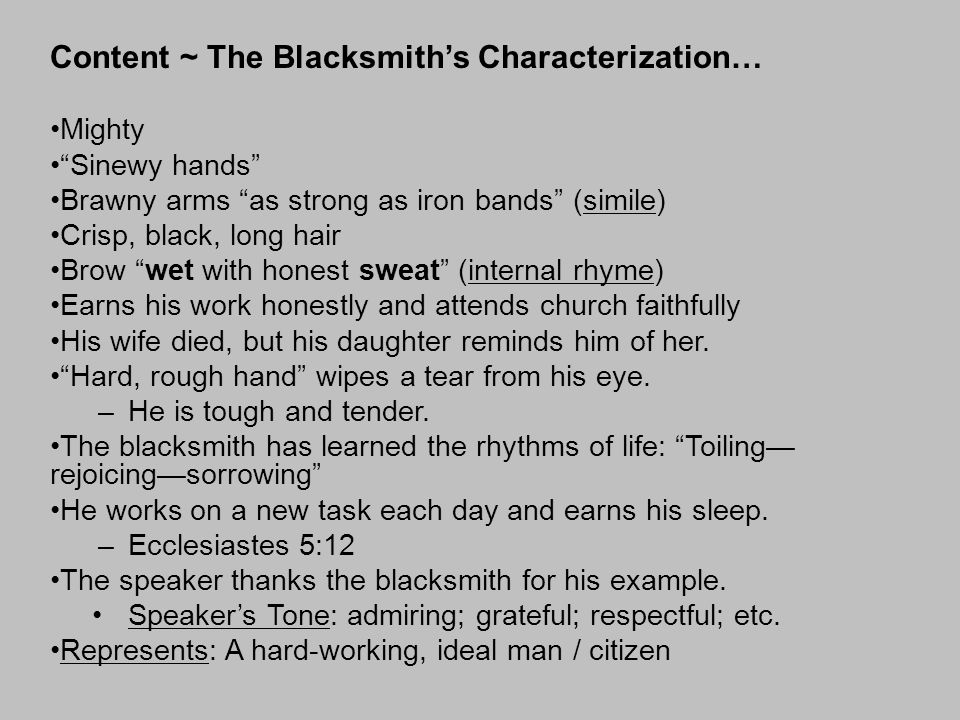 Content ~ The Blacksmith's Characterization…