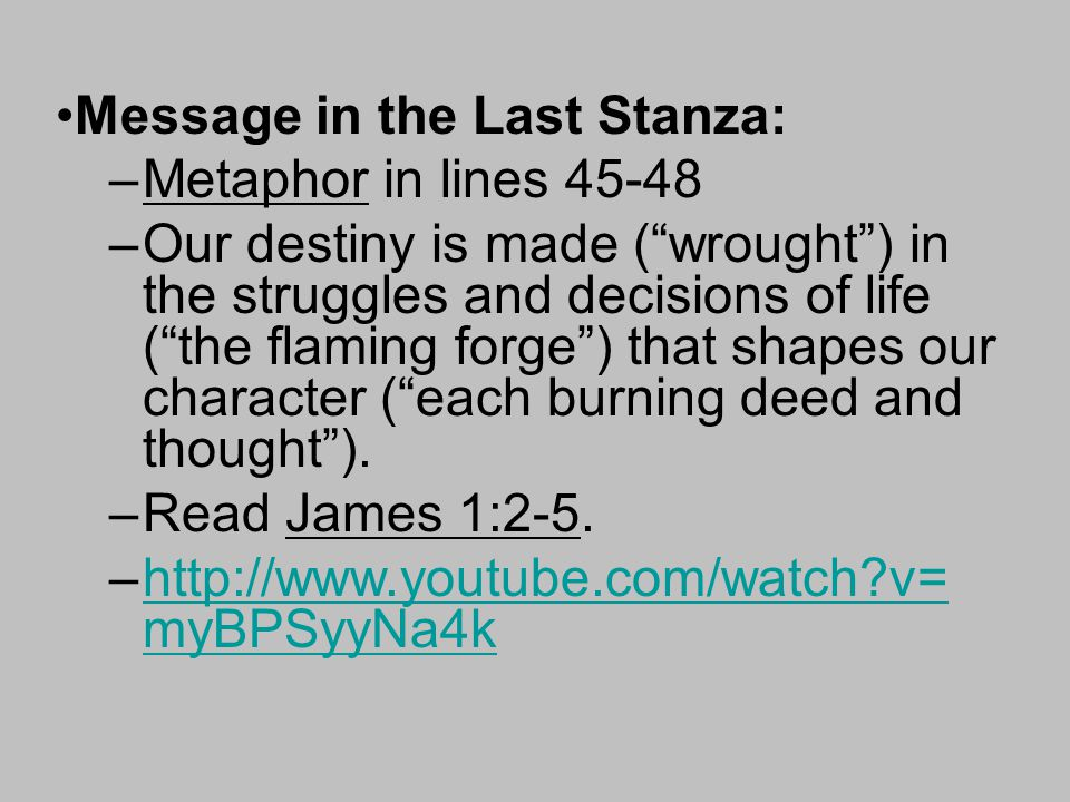 Message in the Last Stanza: