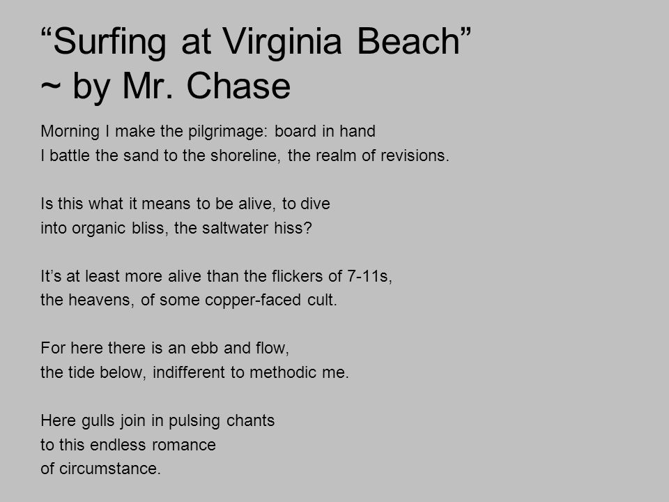 Surfing at Virginia Beach ~ by Mr. Chase