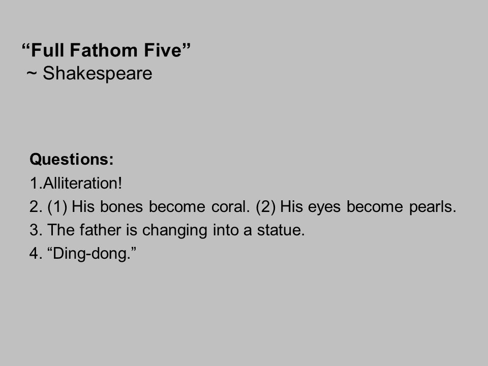 Full Fathom Five ~ Shakespeare