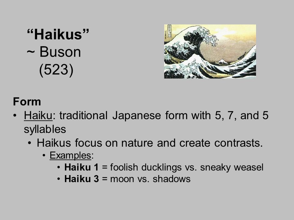 Haikus ~ Buson (523) Form